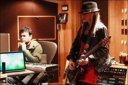 A.R.Rahman with Orianthi during the recording of Sadda Haq Rockstar Music Review   Killer Rock Music for Bollywood Music Buffs!